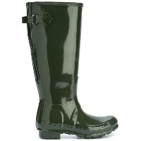 Hunter buckled knee length boots