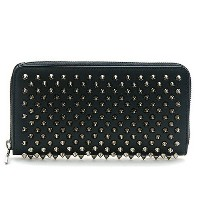 クリスチャン ルブタン CHRISTIAN LOUBOUTIN 1165065 PANETTONE WALLET CALF PARIS/SPIKES B078 BLACK GUMMETAL ラウンドファスナー