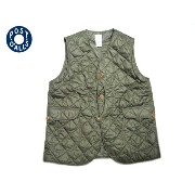 【期間限定20%OFF!】POST OVERALLS(ポストオーバーオールズ)/#1512 ROYAL TRAVELER NYLON TAFFETA QUILTING VEST/olive