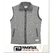 REVERSAL OCEANS CABLE KNIT & FLEECE VEST (JACKET)(rvsf16aw003-GR)
