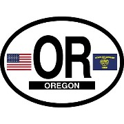 """Oregon Oval Glossly FLAG Decal, Waterproof UV Coated Laminated Reflective Vinyl STICKER, 3.5"""" x 4.75"""""""