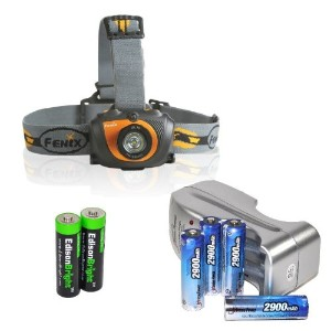 Fenix HL30 200 Lumen LED Headlamp with Four 2900mAh rechargeable Ni-MH AA batteries, Charger & Two...