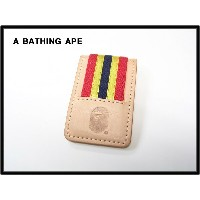 BEIGE【A BATHING APE [エイプ] BAPE LINE MONEY CLIP レザー ライン マネークリップ】ITEN No 482-112【中古】