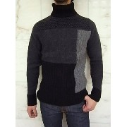 Nudie Jeans(ヌーディー ジーンズ)【DAG ROLL NECK】RECYCLED WOOLTURTLENECK MIX WOOL KNIT★BLACK/GREY☆