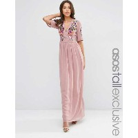 ASOS エイソス TALL Premium Wrap Maxi Dress ドレス ワンピース with Embroidery