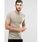 ASOS エイソス Extreme Muscle T-Shirt Tシャツ With Crew Neck In Beige