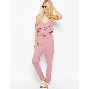 ASOS エイソス Jersey Jumpsuit with Peg Leg and Ruffle Detail