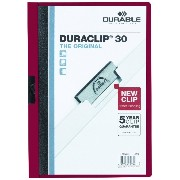 Vinyl DuraClip Report Cover w/Clip, Letter, Holds 30 Pages, Clear/Maroon (並行輸入品)