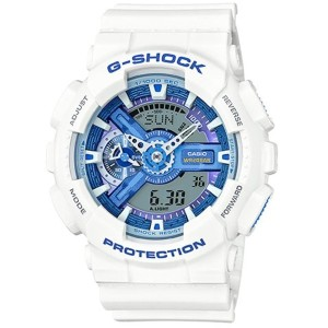 Casio GA110WB-7ACR Men's White Tough Resin Band Blue Dial Watch [並行輸入品]