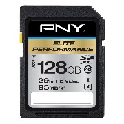 PNY Elite Performance 128 GB High Speed SDXC Class 10 UHS-I, U3 up to 95 MB/Sec Flash Card (P...
