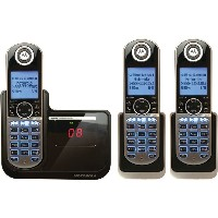【並行輸入】子機2台付モトローラMotorola DECT 6.0 Cordless Phone with 3 Handsets, Digital Answering System and...
