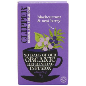 Clipper Organic Infusion Blackcurrant and Acai Berry 20 Teabags (Pack of 6, Total 120 Teabags)