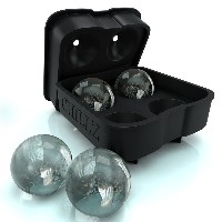 Chillz Ice Ball Maker Mold - Black Flexible Silicone Ice Tray - Molds 4 X 4.5cm Round Ice Ball...