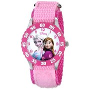 ディズニー Disney Kids' W000970 Frozen Anna Snow Queen Stainless Steel Watch with Pink Nylon Band 女の子...