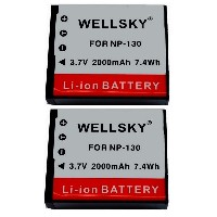 【WELLSKY】 『2個セット』 CASIO カシオ ● NP-130 / NP-130A 互換バッテリー 2000mAh ● 純正充電器で充電可能 残量表示可能 ● EX-ZR100 / EX...