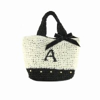 Initial イニシャル 柔らか カゴバッグ 大人ガーリー Paper Bag 【A】 Black