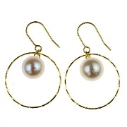 nadi K18YG アコヤ真珠 パール フープピアス 6.0-6.5mm 18K Yellow Gold Akoya Cultured Pearl Hoop Earrings