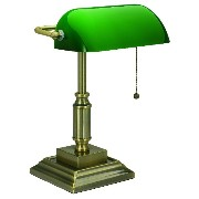 V-LIGHT Traditional Style CFL Banker's Desk Lamp with Green Glass Shade (VS688029AB) [並行輸入品]