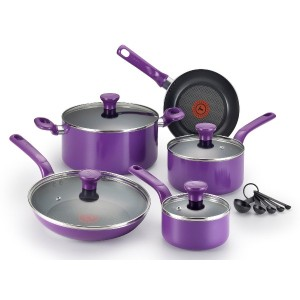 T-fal C970SE Excite Nonstick Thermo-Spot Dishwasher Safe Oven Safe PFOA Free Cookware Set, 14-Piece...