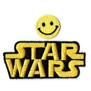 """STAR WARS LOGO"" Applique embroidered iron on PATCHES (Wappen, ワッペン , 패치) with Yellow Tiny Smiley..."