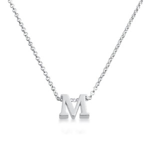 Initial Letter M Personalized Serif Font Pendant Necklace 14k Plated or 925 Sterling Silver ...