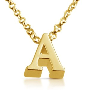Initial Letter A Personalized Serif Font Pendant Necklace (gold-plated-silver, 18 Inches)