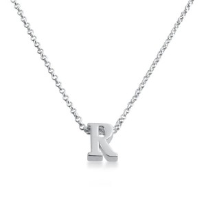 Initial Letter R Personalized Serif Font Pendant Necklace 14k Plated or 925 Sterling Silver ...
