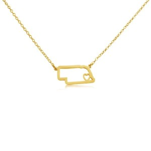 14k Gold Plated Over 925 Sterling Silver Small Nebraska -Home Is Where the Heart Is- Home State...