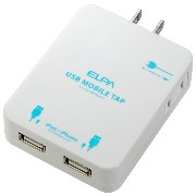ELPA USBモバイルタップ 2A USB2個口 iPad/iPhone/iPod用 AC-US12BPAD(W)