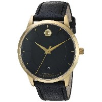 MOVADO MEN'S 1881 39.5MM LEATHER BAND GOLD PLATED CASE AUTOMATIC WATCH 606875