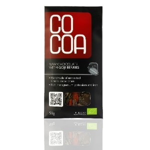 COCOA オーガニックゴジベリーローチョコレート 50g (低GI値) Organic Raw Chocolate with Goji Berry 50g (Superfood & Low GI)