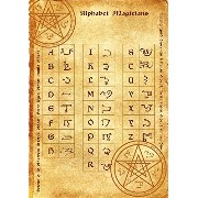 Alphabet Magicians parchment poster wicca pagan print art witch magick runes アルファベットマジシャン羊皮紙のポスターウィッ...