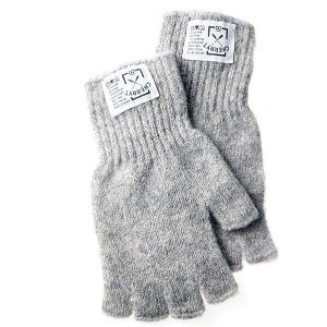 CHERRYT KNIT & CO. | KNITTED FINGERLESS GLOVES (soft grey) | メンズ手袋