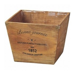 GREEN HOUSE Logo wood planter BR (ブラウン) (225×225×190mm) 3076-A