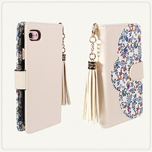 【NORTH LEAF】 iPhone5/iPhone5S/iPhone SE 花柄 レザーケース 手帳型ケース タッセル付き (iPhone5/iPhone5S/iPhone SE, アイボリー)