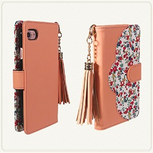 【NORTH LEAF】 iPhone5/iPhone5S/iPhone SE 花柄 レザーケース 手帳型ケース タッセル付き (iPhone5/iPhone5S/iPhone SE,...