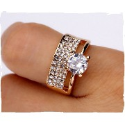 Bridal Sets Double Rings for women AAA Cubic Zirconia 18K Gold Plated Wedding Ring Set (16)