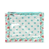 【CATH KIDSTON/キャスキッドソン】並行輸入品 415088 DOUBLE MAKEUP BAG P バッグ ポーチ TURQUOISE PROVENCE ROSE