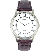 SEIKO Men's Solar Classic Brown Leather Watch SUP869P1 《並行輸入品》 [並行輸入品]