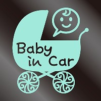 nc-smile Baby in car ステッカー ベビーカー Baby carriage pram stroller (ミントグリーン)