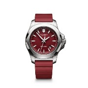 ビクトリノックス Victorinox Swiss Army I.N.O.X. Red Silicone Band w Date Window Men's Watch V241719.1 男性...