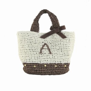 Initial イニシャル 柔らか カゴバッグ 大人ガーリー Paper Bag 【A】 Brown