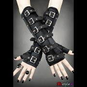 restyleバックルアームウオーマーゴシックポーランドGOTHIC ARM WARMERS GLOVES WITH BUCKLES