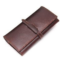 Contacts Genuine Cowhide Leather Men Long Wallet Coin Vintage Male Purse Brown