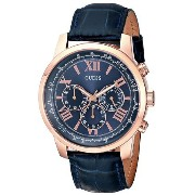 ゲス GUESS Men's U0380G5 Iconic Blue Chronograph Watch with Blue Dial Rose Gold-Tone Case & Genuine...