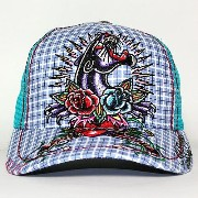 Ed Hardy SPECIALTY CAP PANTHER & ROSES AQUA