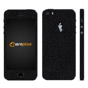 wraplus for iPhoneSE & iPhone5S/5 【ブラック光沢レザー】 スキンシール + 液晶保護フィルム