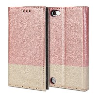 iPod touch 5 ケース, GMYLE Wallet Case Clip iPod touch 5 專用 - Pink & Champagne Gold PUレザースタンド手帳型ケースカバー