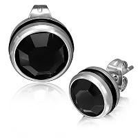 Stainless Steel Black Silver-Tone Round Classic CZ Stud Earrings