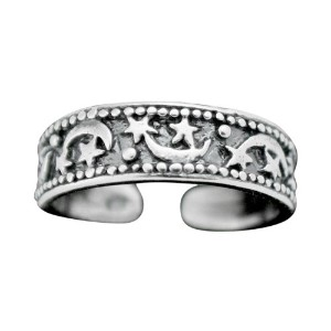 925 Sterling Silver Textured Toe Ring with Stars and Moons (Resizable)